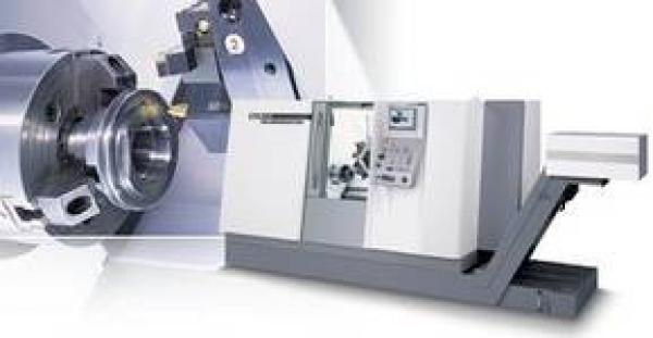 6-Achsen-Maschine mit angetriebenen Werkzeugen und Y-Fräsachse ± 40mm Hydraulische Lünette 20-150mm, Spindeldurchlass 90mm programmierbarer Reitstock Drehdurchmesser 520mm, Drehlänge 1350mm