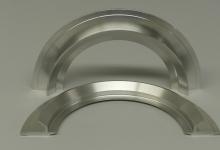 Halbierte Teile aus Aluminium mit komplexer Aussenkontur